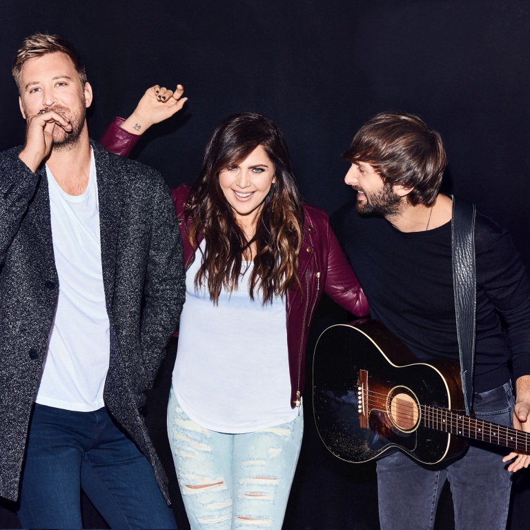 LADY ANTEBELLUM'S CHARLES KELLEY GETS A LITTLE WET DURING THE TRIO'S VISIT TO THE ELLEN DeGENERES SHOW.